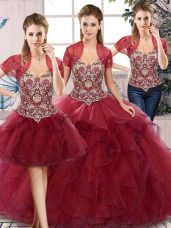 Top Selling Off The Shoulder Sleeveless Tulle Vestidos de Quinceanera Beading and Ruffles Lace Up