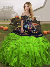 Exceptional Off The Shoulder Sleeveless Sweet 16 Dresses Floor Length Embroidery and Ruffles Organza