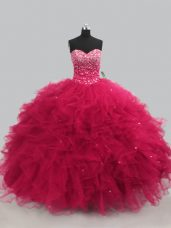 Hot Pink Sweetheart Lace Up Beading and Ruffles Ball Gown Prom Dress Sleeveless