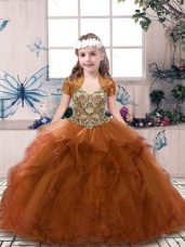 Floor Length Rust Red Little Girls Pageant Dress Wholesale Tulle Sleeveless Beading and Ruffles