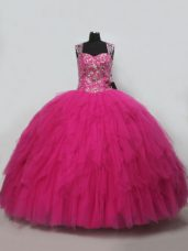 Hot Pink Ball Gowns Straps Sleeveless Tulle Lace Up Beading and Ruffles Sweet 16 Quinceanera Dress