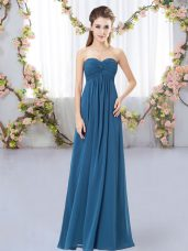 Teal Empire Chiffon Sweetheart Sleeveless Ruching Floor Length Zipper Quinceanera Court of Honor Dress