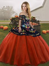 Spectacular Rust Red Sleeveless Floor Length Embroidery Lace Up Quinceanera Gown