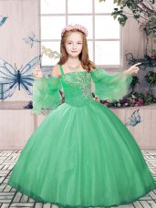 Green Straps Lace Up Beading Pageant Gowns For Girls Sleeveless