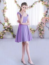 Lavender A-line Straps Cap Sleeves Chiffon Mini Length Zipper Ruching Bridesmaid Dresses