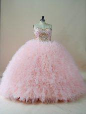 Baby Pink Sleeveless Brush Train Beading and Ruffles Sweet 16 Dresses