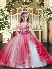 Floor Length Ball Gowns Sleeveless Red Little Girl Pageant Gowns Lace Up
