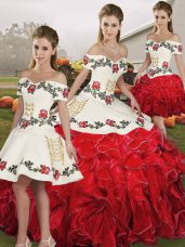 Fancy White And Red Ball Gowns Embroidery and Ruffles 15 Quinceanera Dress Lace Up Organza Sleeveless Floor Length
