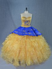 Fine Gold Ball Gowns Embroidery and Ruffles Quince Ball Gowns Lace Up Organza Sleeveless