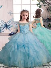 Light Blue Sleeveless Organza Lace Up Juniors Party Dress for Party and Military Ball and Wedding Party