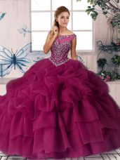 Admirable Fuchsia Zipper Quinceanera Dresses Beading and Pick Ups Sleeveless Brush Train