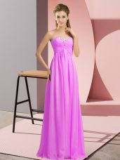 Wonderful Sleeveless Chiffon Floor Length Lace Up Prom Dresses in Lilac with Beading