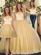 Fancy Floor Length Gold Quince Ball Gowns Scoop Sleeveless Clasp Handle
