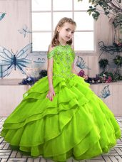 Low Price Lace Up High-neck Beading Pageant Gowns For Girls Organza Sleeveless