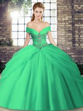 Stunning Turquoise Sleeveless Beading and Pick Ups Lace Up Quinceanera Dresses