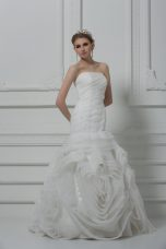 Strapless Sleeveless Wedding Dresses Brush Train Ruching White Fabric With Rolling Flowers