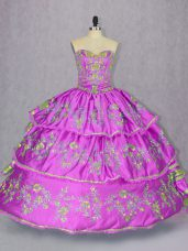 Latest Ball Gowns Quinceanera Gown Lilac Sweetheart Satin and Organza Sleeveless Floor Length Lace Up