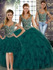 Smart Peacock Green Straps Lace Up Beading and Ruffles Vestidos de Quinceanera Sleeveless