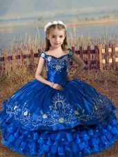 Great Satin and Organza Off The Shoulder Sleeveless Lace Up Embroidery and Ruffled Layers Girls Pageant Dresses in Royal Blue