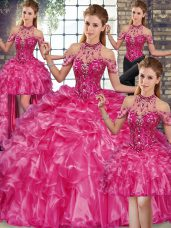 Glittering Fuchsia Halter Top Neckline Beading and Ruffles Quinceanera Gowns Sleeveless Lace Up