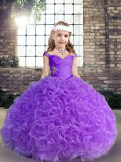 Fabric With Rolling Flowers Straps Sleeveless Beading and Ruching Pageant Dresses in Purple