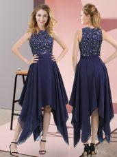 Decent Empire Homecoming Dress Navy Blue High-neck Chiffon Sleeveless Asymmetrical Zipper