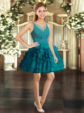 Ball Gowns Prom Gown Teal V-neck Organza Sleeveless Mini Length Backless