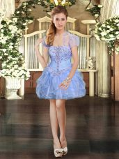 Spectacular Light Blue Organza Lace Up Strapless Sleeveless Mini Length Cocktail Dress Beading and Lace and Ruffles