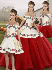 White And Red Sleeveless Floor Length Embroidery Lace Up Sweet 16 Quinceanera Dress