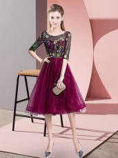 Fuchsia Lace Up Wedding Guest Dresses Embroidery Half Sleeves Knee Length