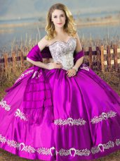Purple Lace Up Quinceanera Gown Embroidery Sleeveless Floor Length