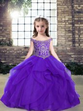 Stunning Purple Organza Lace Up Kids Pageant Dress Sleeveless Floor Length Beading