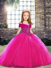 Elegant Fuchsia Ball Gowns Straps Sleeveless Tulle Brush Train Lace Up Beading Pageant Gowns For Girls