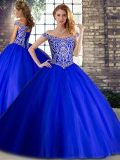 Fine Tulle Off The Shoulder Sleeveless Brush Train Lace Up Beading Sweet 16 Dress in Royal Blue