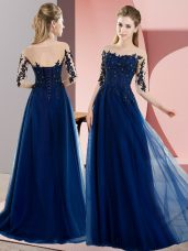 Floor Length Lace Up Bridesmaid Dress Navy Blue for Wedding Party with Beading and Lace