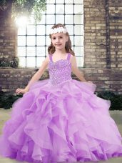 Beading and Ruffles Child Pageant Dress Lavender Lace Up Sleeveless Floor Length