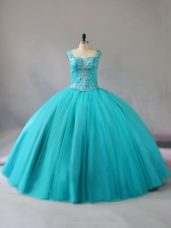 Extravagant Tulle Sleeveless Floor Length Quinceanera Gown and Beading