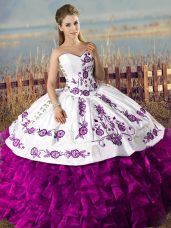 Sexy Sleeveless Lace Up Floor Length Embroidery and Ruffles Vestidos de Quinceanera