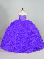 Purple Lace Up Sweetheart Beading Quinceanera Gowns Fabric With Rolling Flowers Sleeveless Court Train