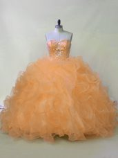 Adorable Orange Quinceanera Gowns Sweet 16 and Quinceanera with Beading and Ruffles Sweetheart Sleeveless Lace Up
