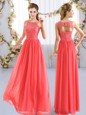 Beautiful Floor Length Coral Red Wedding Guest Dresses Scoop Sleeveless Zipper