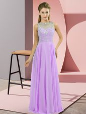 Colorful Floor Length Zipper Celebrity Inspired Dress Lavender for Prom and Party with Beading