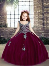 Adorable Spaghetti Straps Sleeveless Lace Up Kids Pageant Dress Fuchsia Tulle