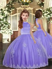 New Style Lavender Backless Little Girl Pageant Dress Appliques Sleeveless Floor Length