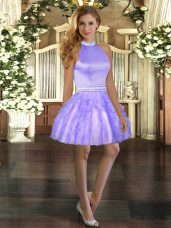 Lavender Halter Top Neckline Beading and Ruffles Prom Gown Sleeveless Backless