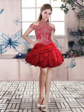 Halter Top Sleeveless Organza Prom Gown Beading and Ruffled Layers Lace Up