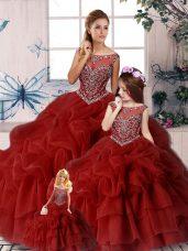 Vintage Wine Red Organza Zipper Scoop Sleeveless 15th Birthday Dress Brush Train Beading and Pick Ups