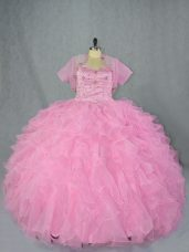 Glorious Baby Pink Ball Gowns Sweetheart Sleeveless Organza Floor Length Lace Up Beading and Ruffles Quinceanera Gowns
