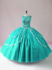 Lovely Turquoise Tulle Zipper Scoop Sleeveless Floor Length Quinceanera Gowns Beading