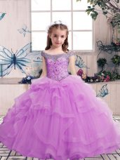 Stylish Lilac Sleeveless Tulle Lace Up Little Girl Pageant Dress for Party and Military Ball and Wedding Party